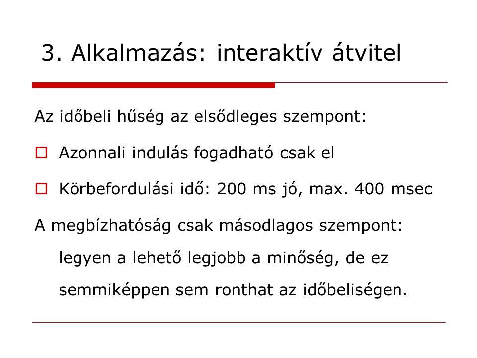 3. Alkalmazás: interaktív átvitel Az időbeli hűség az elsődleges szempont:  Azonnali indulás fogadható csak el  Körbefordulási idő: 200 ms jó, max.