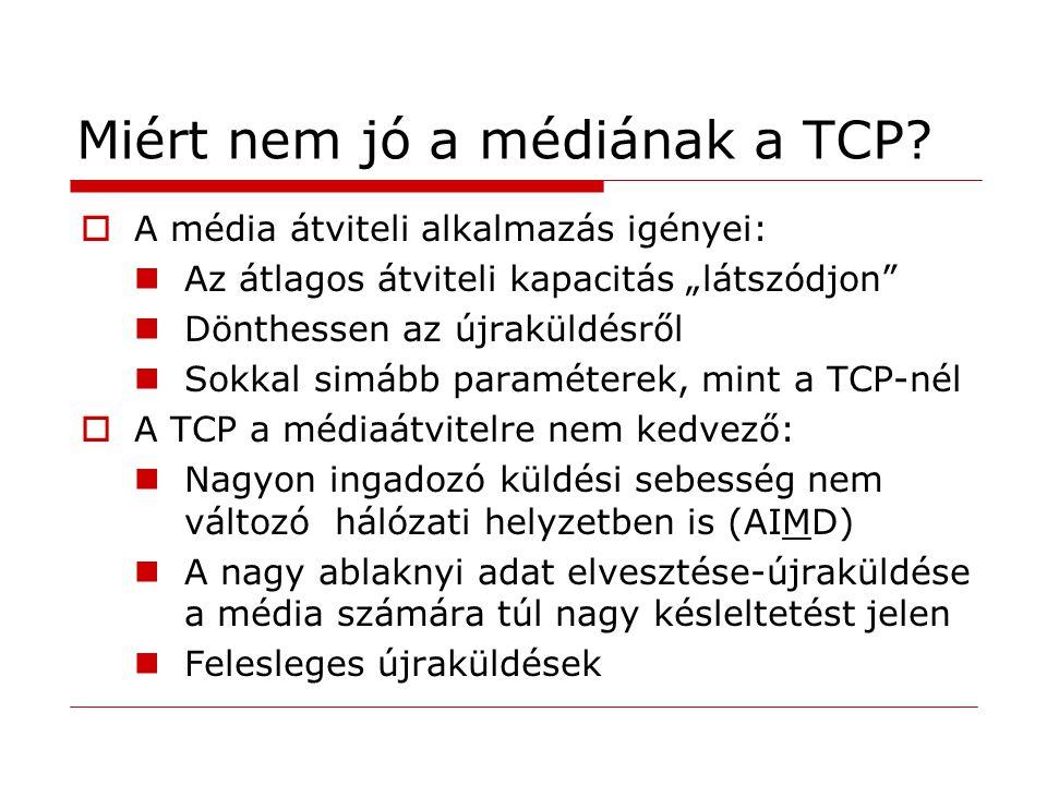 """Miért nem jó a médiának a TCP?  A média átviteli alkalmazás igényei: Az átlagos átviteli kapacitás """"látszódjon"""" Dönthessen az újraküldésről Sokkal si"""