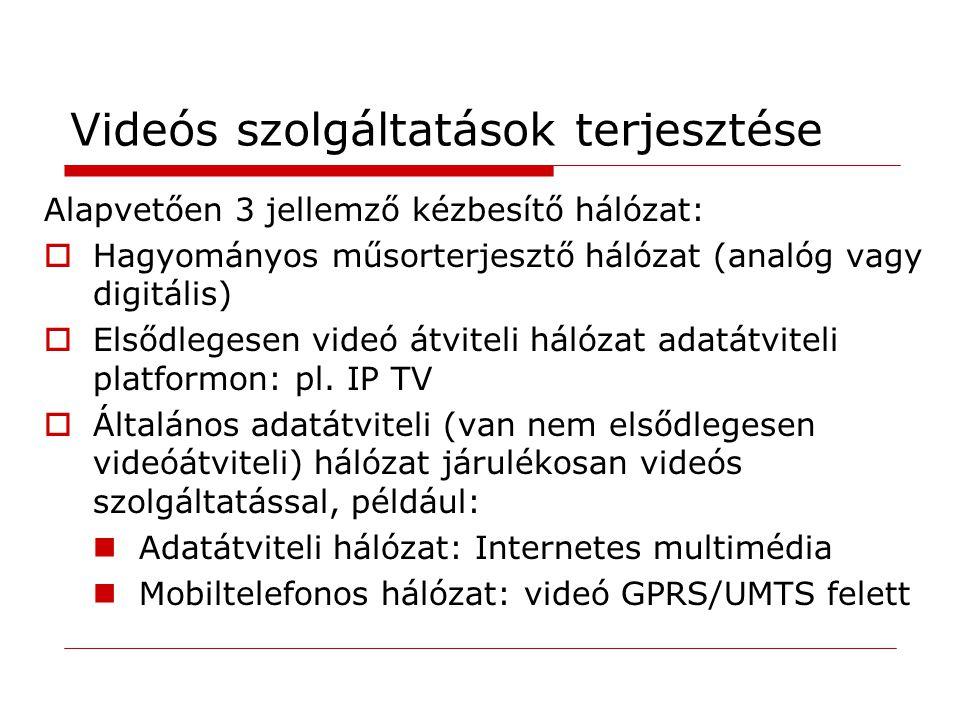 Videós szolgáltatások terjesztése Alapvetően 3 jellemző kézbesítő hálózat:  Hagyományos műsorterjesztő hálózat (analóg vagy digitális)  Elsődlegesen videó átviteli hálózat adatátviteli platformon: pl.