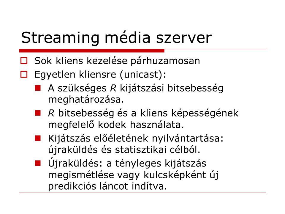 Streaming média szerver  Sok kliens kezelése párhuzamosan  Egyetlen kliensre (unicast): A szükséges R kijátszási bitsebesség meghatározása. R bitseb