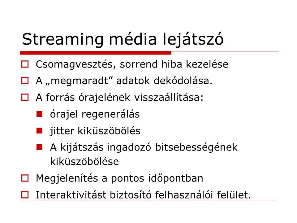 """Streaming média lejátszó  Csomagvesztés, sorrend hiba kezelése  A """"megmaradt adatok dekódolása."""