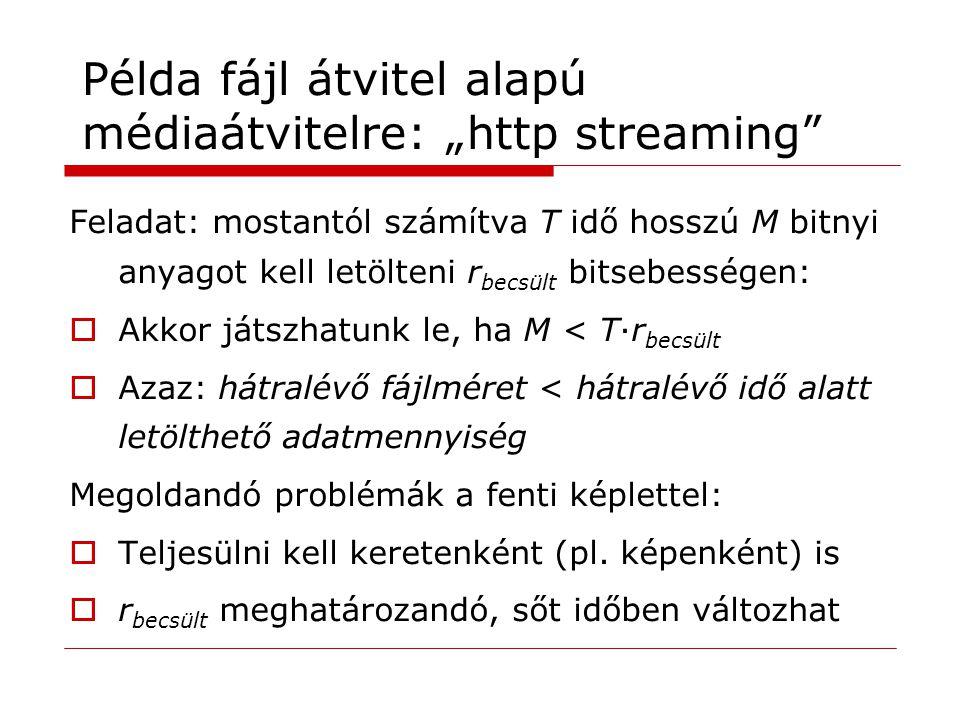 """Példa fájl átvitel alapú médiaátvitelre: """"http streaming"""" Feladat: mostantól számítva T idő hosszú M bitnyi anyagot kell letölteni r becsült bitsebess"""