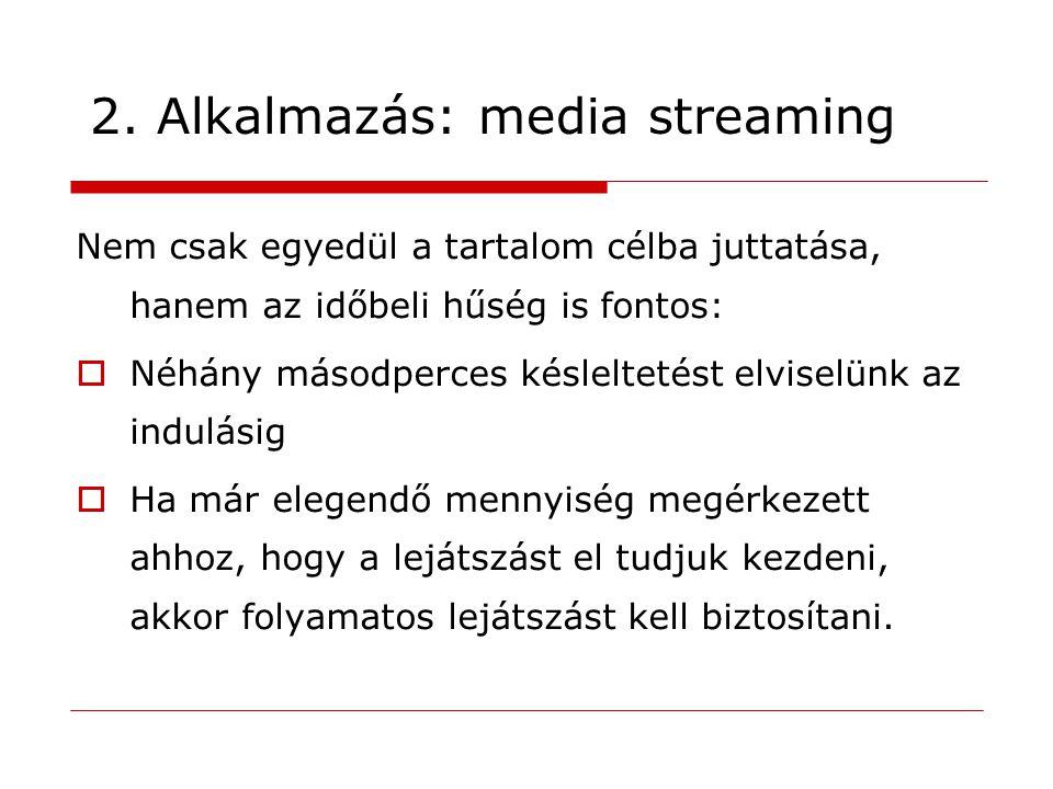 2. Alkalmazás: media streaming Nem csak egyedül a tartalom célba juttatása, hanem az időbeli hűség is fontos:  Néhány másodperces késleltetést elvise