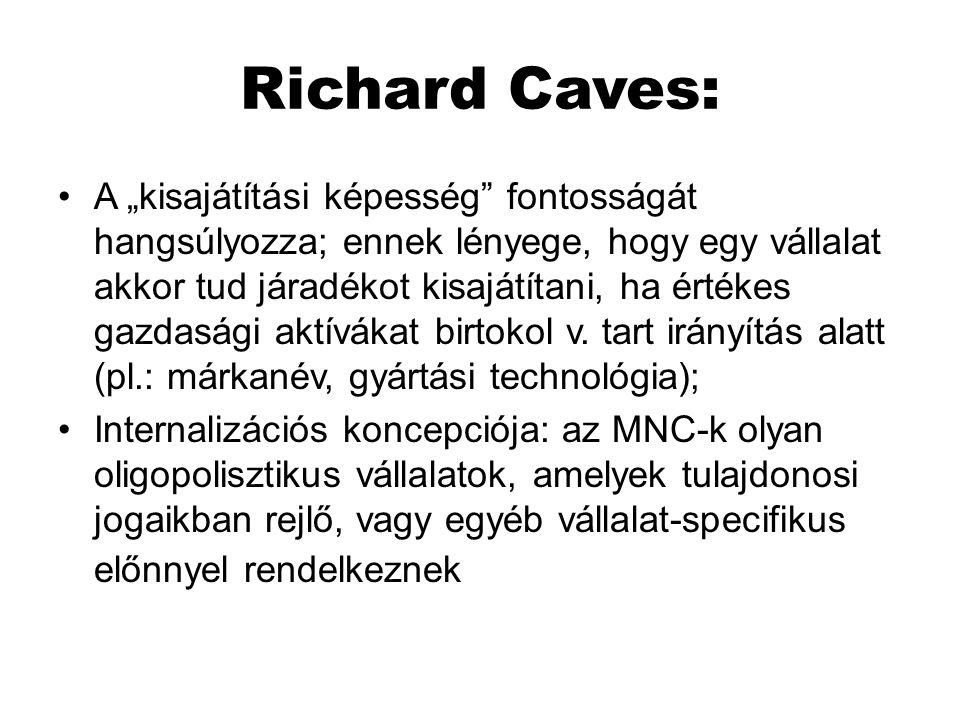 """Richard Caves: A """"kisajátítási képesség"""" fontosságát hangsúlyozza; ennek lényege, hogy egy vállalat akkor tud járadékot kisajátítani, ha értékes gazda"""