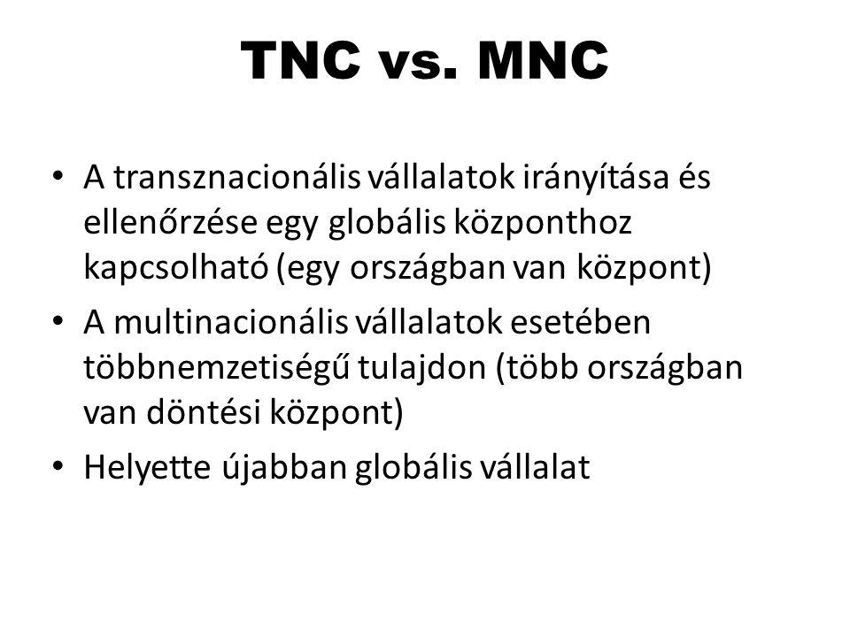 TNC vs. MNC A transznacionális vállalatok irányítása és ellenőrzése egy globális központhoz kapcsolható (egy országban van központ) A multinacionális