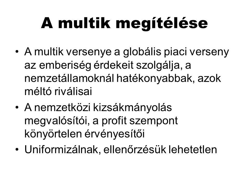 A multik megítélése A multik versenye a globális piaci verseny az emberiség érdekeit szolgálja, a nemzetállamoknál hatékonyabbak, azok méltó riválisai