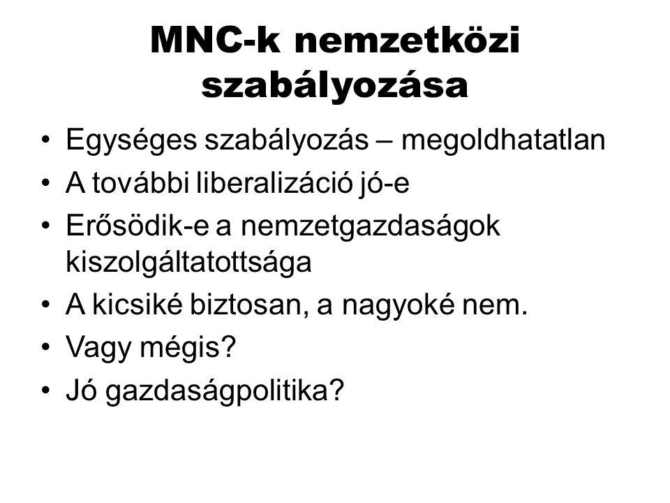 MNC-k nemzetközi szabályozása Egységes szabályozás – megoldhatatlan A további liberalizáció jó-e Erősödik-e a nemzetgazdaságok kiszolgáltatottsága A k