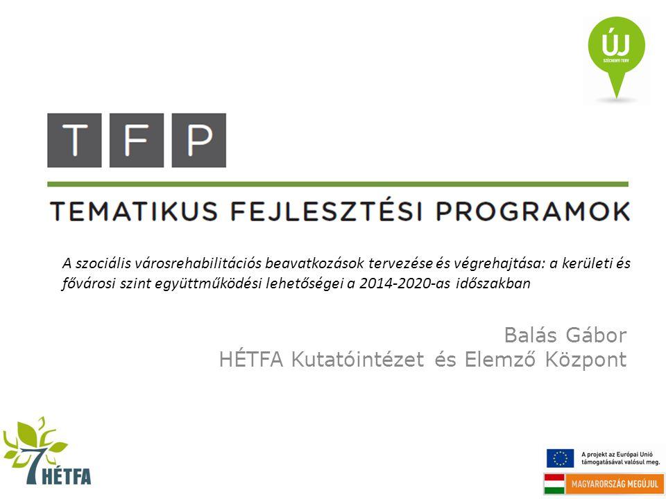 Balás Gábor HÉTFA Kutatóintézet és Elemző Központ A szociális városrehabilitációs beavatkozások tervezése és végrehajtása: a kerületi és fővárosi szin