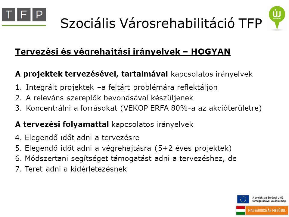 Szociális Városrehabilitáció TFP Tervezési és végrehajtási irányelvek – HOGYAN A projektek tervezésével, tartalmával kapcsolatos irányelvek 1.Integrál