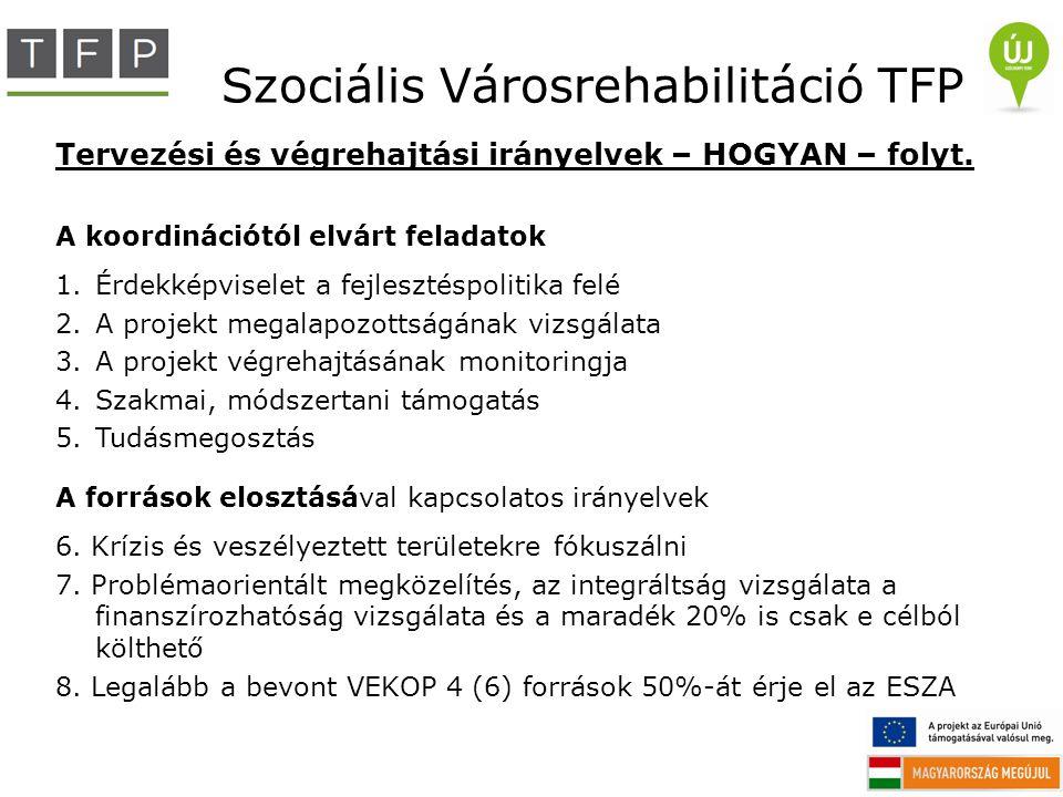 Szociális Városrehabilitáció TFP Tervezési és végrehajtási irányelvek – HOGYAN – folyt. A koordinációtól elvárt feladatok 1.Érdekképviselet a fejleszt