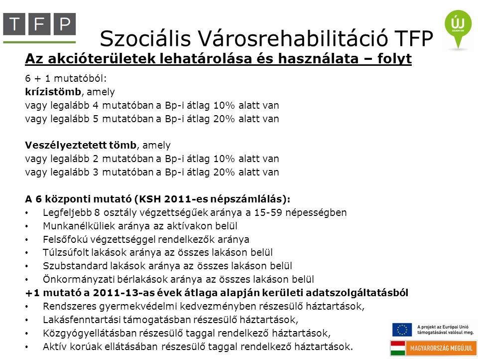 Szociális Városrehabilitáció TFP Az akcióterületek lehatárolása és használata – folyt 6 + 1 mutatóból: krízistömb, amely vagy legalább 4 mutatóban a B