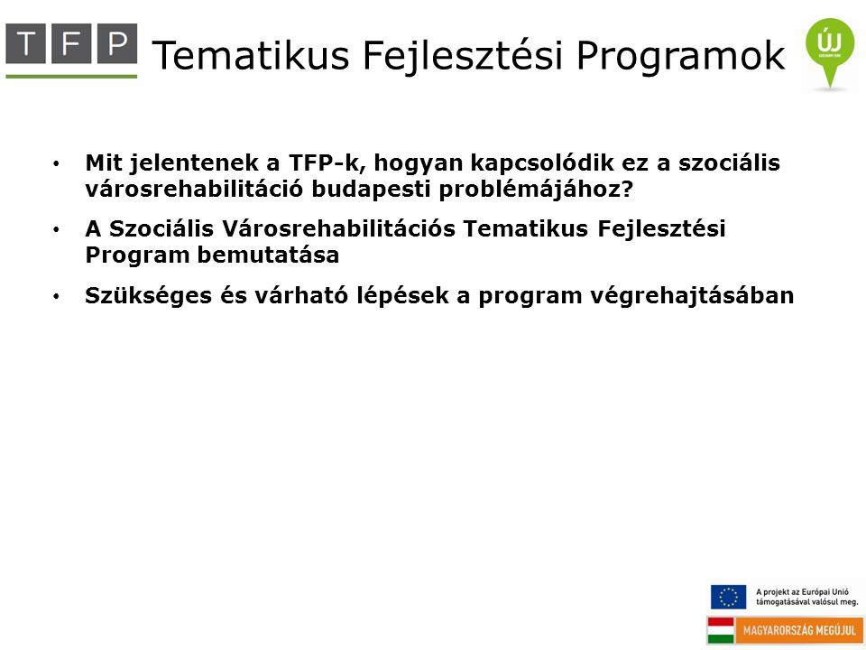 Tematikus Fejlesztési Programok Mit jelentenek a TFP-k, hogyan kapcsolódik ez a szociális városrehabilitáció budapesti problémájához? A Szociális Váro