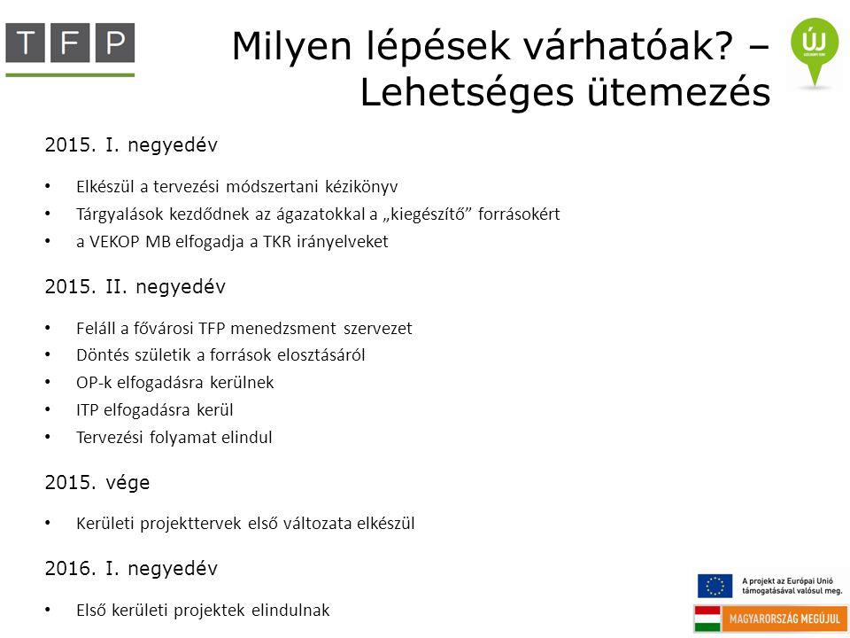 """Milyen lépések várhatóak? – Lehetséges ütemezés 2015. I. negyedév Elkészül a tervezési módszertani kézikönyv Tárgyalások kezdődnek az ágazatokkal a """"k"""