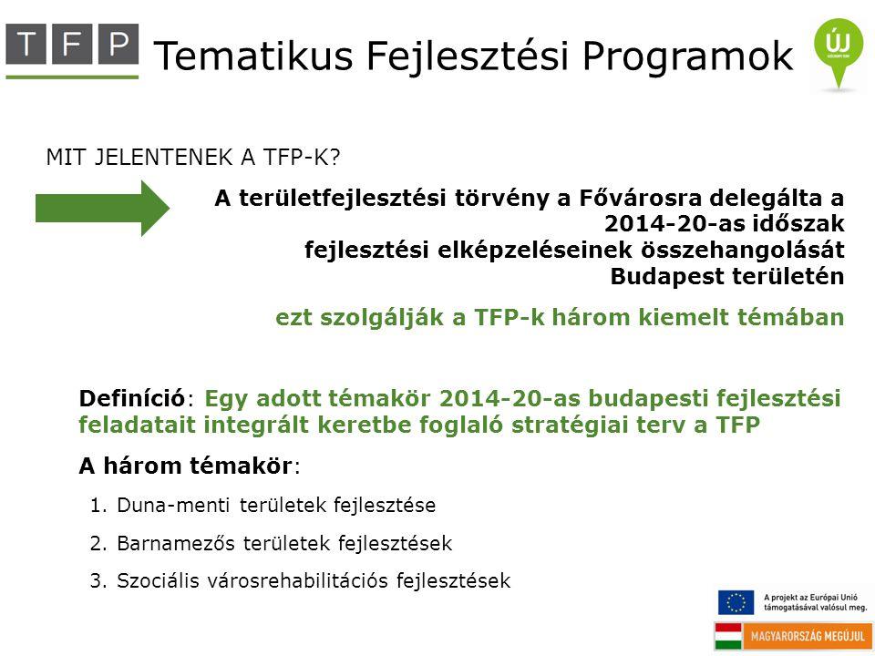 Tematikus Fejlesztési Programok MIT JELENTENEK A TFP-K? A területfejlesztési törvény a Fővárosra delegálta a 2014-20-as időszak fejlesztési elképzelés