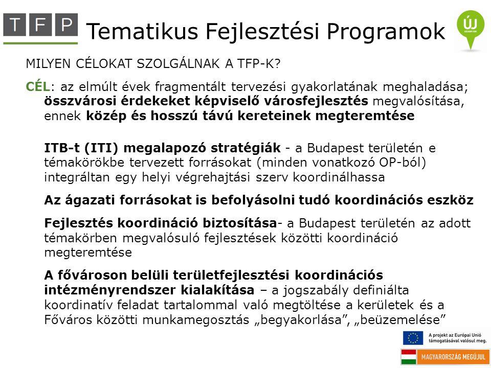 Tematikus Fejlesztési Programok MILYEN CÉLOKAT SZOLGÁLNAK A TFP-K? CÉL: az elmúlt évek fragmentált tervezési gyakorlatának meghaladása; összvárosi érd