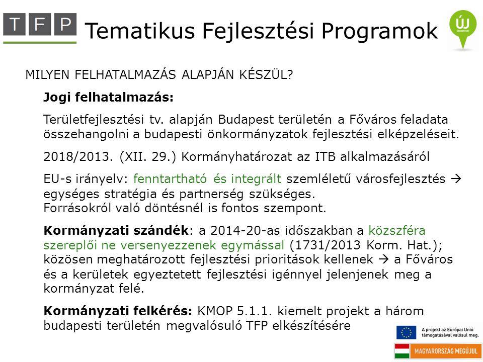 Tematikus Fejlesztési Programok MILYEN FELHATALMAZÁS ALAPJÁN KÉSZÜL? Jogi felhatalmazás: Területfejlesztési tv. alapján Budapest területén a Főváros f