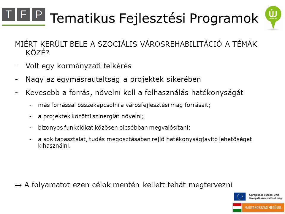 Tematikus Fejlesztési Programok MIÉRT KERÜLT BELE A SZOCIÁLIS VÁROSREHABILITÁCIÓ A TÉMÁK KÖZÉ? -Volt egy kormányzati felkérés -Nagy az egymásrautaltsá