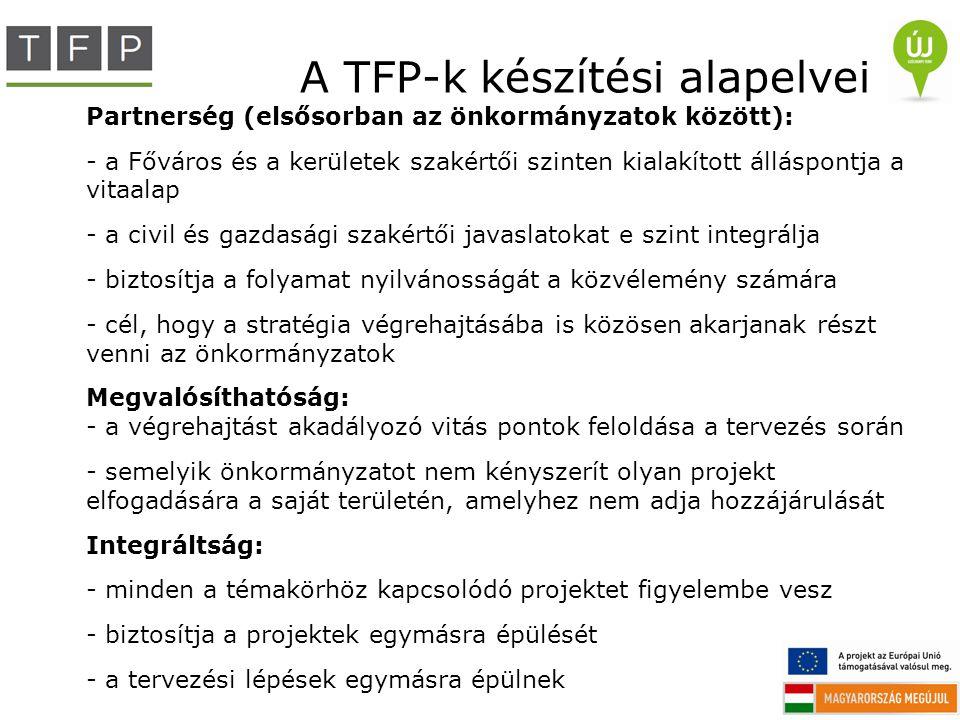 A TFP-k készítési alapelvei Partnerség (elsősorban az önkormányzatok között): - a Főváros és a kerületek szakértői szinten kialakított álláspontja a v