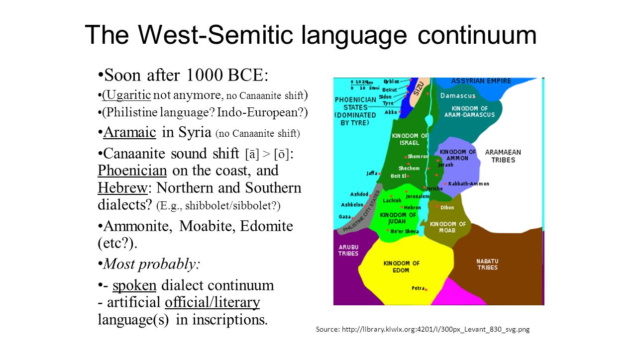 The West-Semitic language continuum Soon after 1000 BCE: (Ugaritic not anymore, no Canaanite shift ) (Philistine language.
