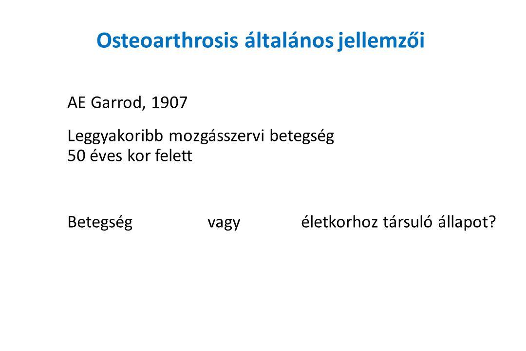 Osteoarthrosis általános jellemzői AE Garrod, 1907 Leggyakoribb mozgásszervi betegség 50 éves kor felett Betegség vagy életkorhoz társuló állapot?