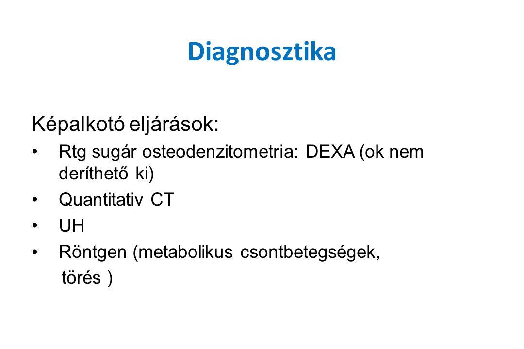 Diagnosztika Képalkotó eljárások: Rtg sugár osteodenzitometria: DEXA (ok nem deríthető ki) Quantitativ CT UH Röntgen (metabolikus csontbetegségek, tör