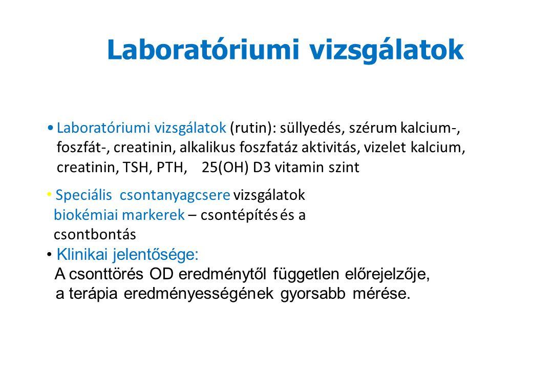 Laboratóriumi vizsgálatok Laboratóriumi vizsgálatok (rutin): süllyedés, szérum kalcium-, foszfát-, creatinin, alkalikus foszfatáz aktivitás, vizelet kalcium, creatinin, TSH, PTH, 25(OH) D3 vitamin szint Speciális csontanyagcsere vizsgálatok biokémiai markerek – csontépítés és a csontbontás Klinikai jelentősége: A csonttörés OD eredménytől független előrejelzője, a terápia eredményességének gyorsabb mérése.
