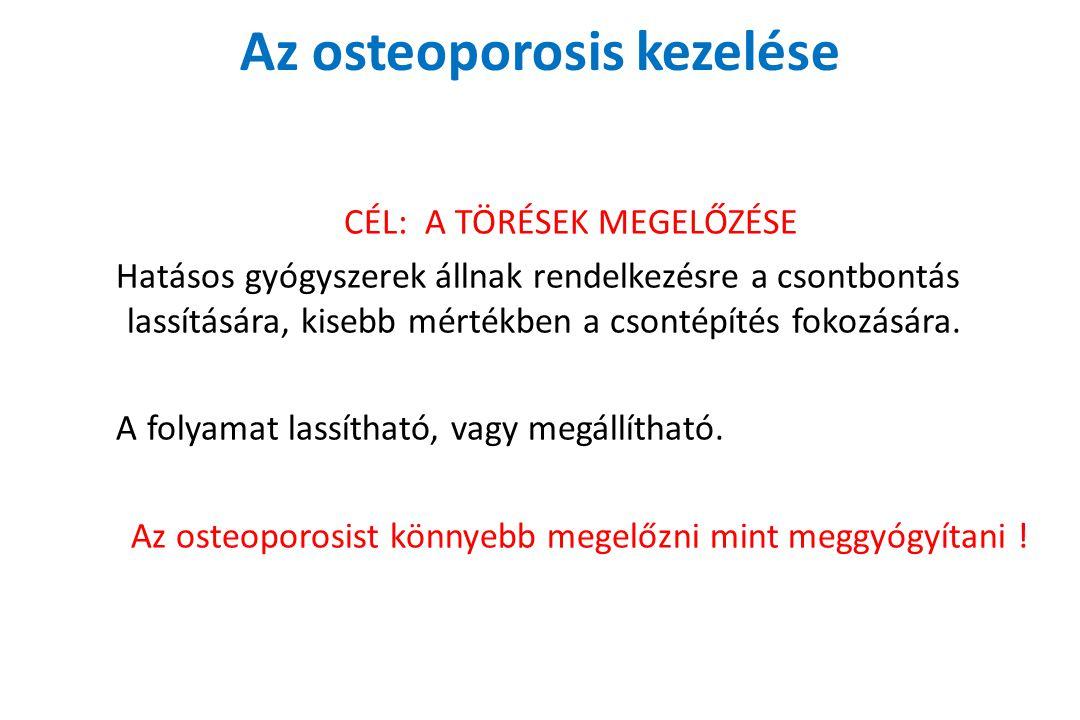 Az osteoporosis kezelése CÉL: A TÖRÉSEK MEGELŐZÉSE Hatásos gyógyszerek állnak rendelkezésre a csontbontás lassítására, kisebb mértékben a csontépítés fokozására.