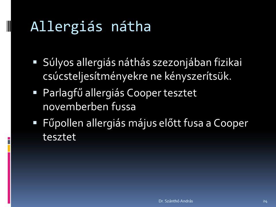 Allergiás nátha  Súlyos allergiás náthás szezonjában fizikai csúcsteljesítményekre ne kényszerítsük.  Parlagfű allergiás Cooper tesztet novemberben