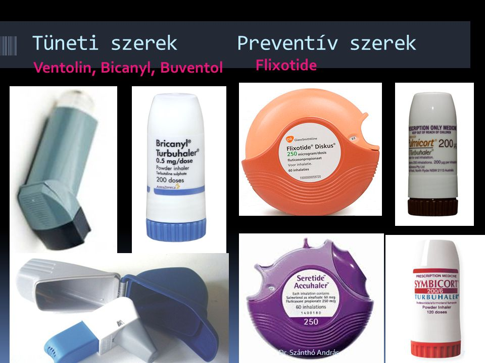 Tüneti szerek Preventív szerek Ventolin, Bicanyl, Buventol Flixotide 7 Dr. Szánthó András