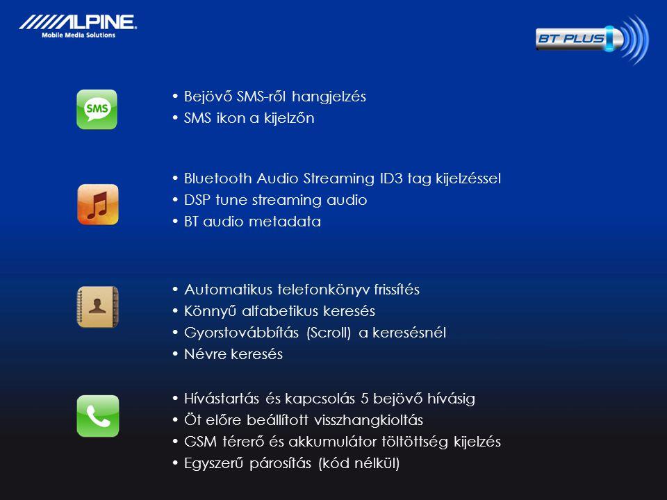 Confidential, No copy permitted Bejövő SMS-ről hangjelzés SMS ikon a kijelzőn Bluetooth Audio Streaming ID3 tag kijelzéssel DSP tune streaming audio BT audio metadata Automatikus telefonkönyv frissítés Könnyű alfabetikus keresés Gyorstovábbítás (Scroll) a keresésnél Névre keresés Hívástartás és kapcsolás 5 bejövő hívásig Öt előre beállított visszhangkioltás GSM térerő és akkumulátor töltöttség kijelzés Egyszerű párosítás (kód nélkül)