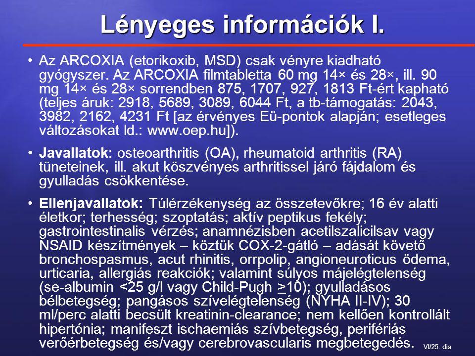 VI/25. dia Lényeges információk I. Az ARCOXIA (etorikoxib, MSD) csak vényre kiadható gyógyszer.