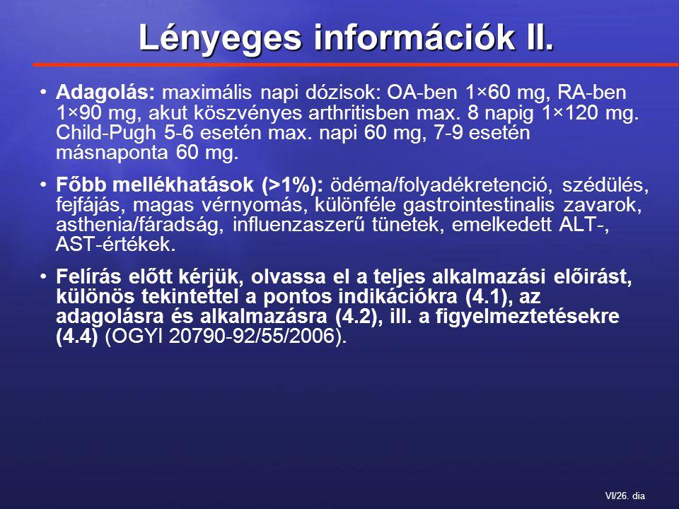 VI/26. dia Lényeges információk II.