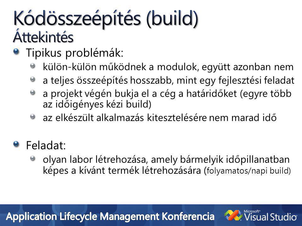 Tipikus problémák: külön-külön működnek a modulok, együtt azonban nem a teljes összeépítés hosszabb, mint egy fejlesztési feladat a projekt végén bukja el a cég a határidőket (egyre több az időigényes kézi build) az elkészült alkalmazás kitesztelésére nem marad idő Feladat: olyan labor létrehozása, amely bármelyik időpillanatban képes a kívánt termék létrehozására ( folyamatos/napi build)