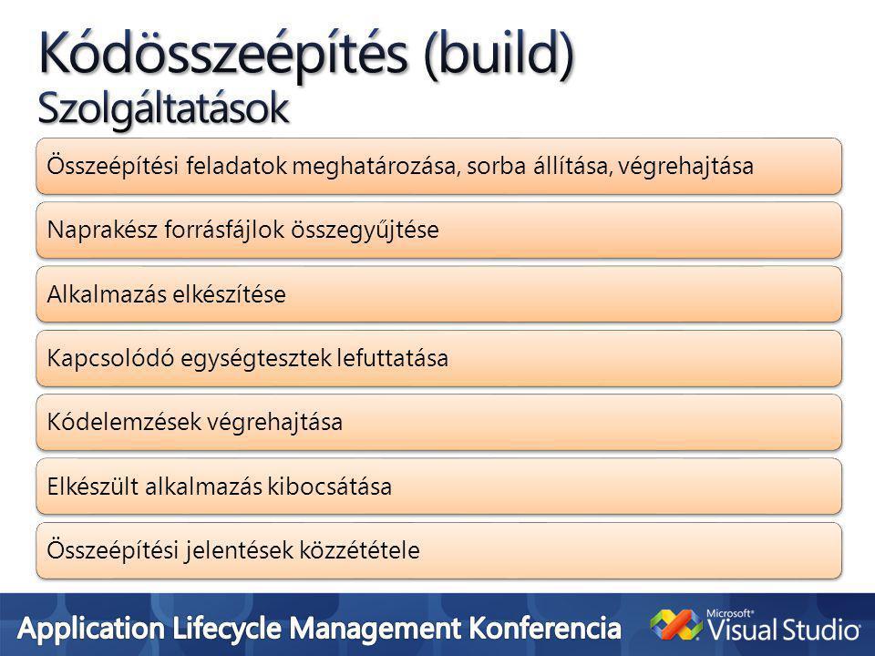 Összeépítési feladatok meghatározása, sorba állítása, végrehajtásaNaprakész forrásfájlok összegyűjtéseAlkalmazás elkészítéseKapcsolódó egységtesztek lefuttatásaKódelemzések végrehajtásaElkészült alkalmazás kibocsátásaÖsszeépítési jelentések közzététele