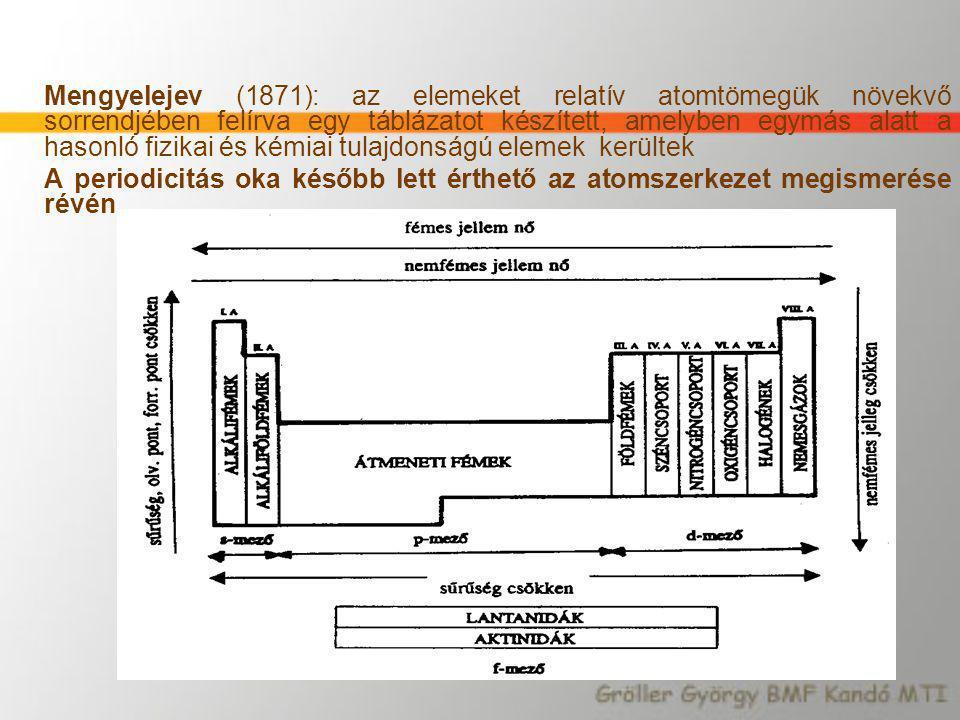 Mengyelejev (1871): az elemeket relatív atomtömegük növekvő sorrendjében felírva egy táblázatot készített, amelyben egymás alatt a hasonló fizikai és