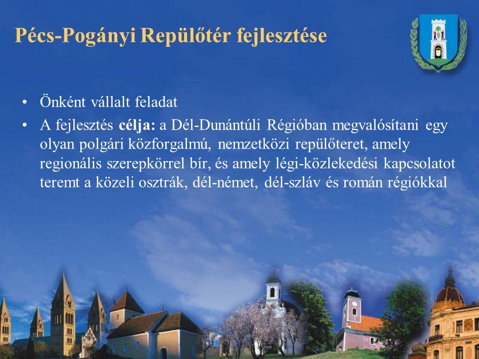 Pécs-Pogányi Repülőtér fejlesztése Önként vállalt feladat A fejlesztés célja: a Dél-Dunántúli Régióban megvalósítani egy olyan polgári közforgalmú, nemzetközi repülőteret, amely regionális szerepkörrel bír, és amely légi-közlekedési kapcsolatot teremt a közeli osztrák, dél-német, dél-szláv és román régiókkal