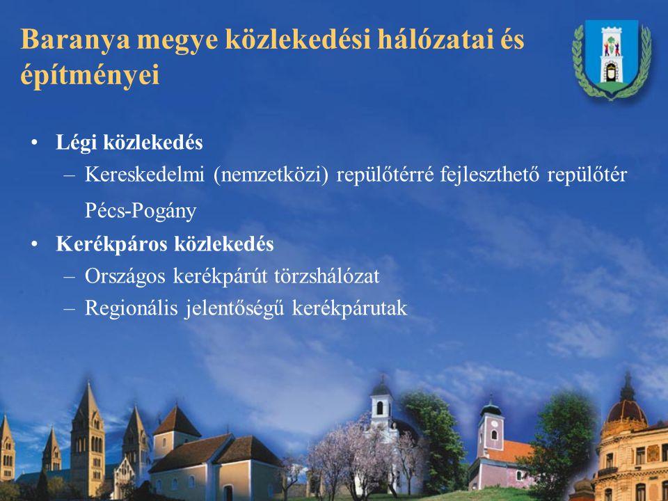 Baranya megye közlekedési hálózatai és építményei Légi közlekedés –Kereskedelmi (nemzetközi) repülőtérré fejleszthető repülőtér Pécs-Pogány Kerékpáros közlekedés –Országos kerékpárút törzshálózat –Regionális jelentőségű kerékpárutak