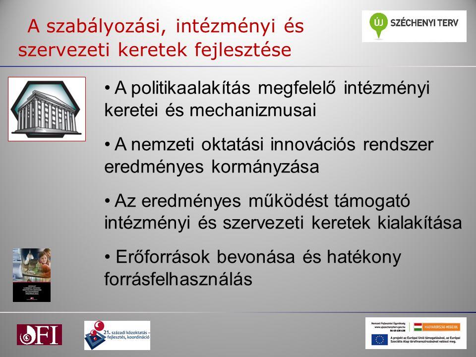 A szabályozási, intézményi és szervezeti keretek fejlesztése A politikaalakítás megfelelő intézményi keretei és mechanizmusai A nemzeti oktatási innov