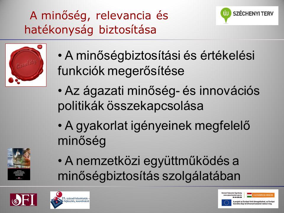 A minőség, relevancia és hatékonyság biztosítása A minőségbiztosítási és értékelési funkciók megerősítése Az ágazati minőség- és innovációs politikák