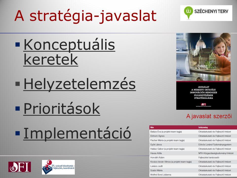 A stratégia-javaslat  Konceptuális keretek Konceptuális keretek  Helyzetelemzés Helyzetelemzés  Prioritások Prioritások  Implementáció Implementác