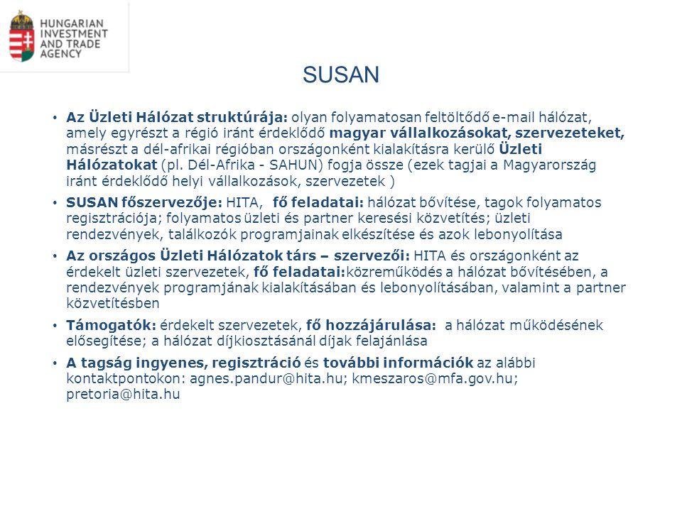 SUSAN Az Üzleti Hálózat struktúrája: olyan folyamatosan feltöltődő e-mail hálózat, amely egyrészt a régió iránt érdeklődő magyar vállalkozásokat, szervezeteket, másrészt a dél-afrikai régióban országonként kialakításra kerülő Üzleti Hálózatokat (pl.