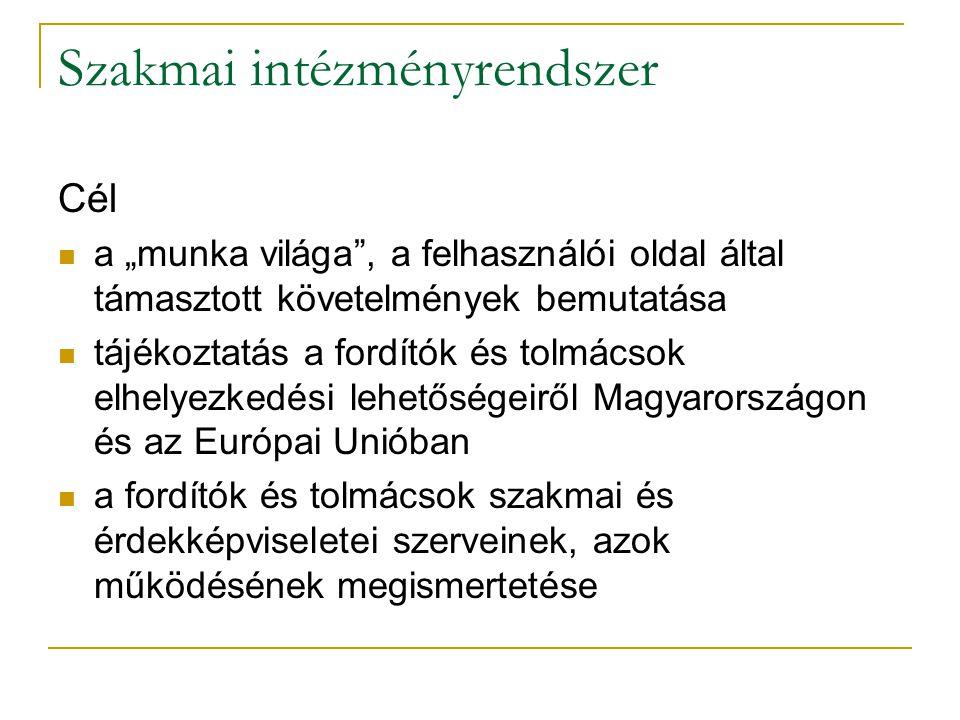 Szakmai intézményrendszer Elvárások: Kötelező olvasmány: Horváth Ildikó–Szabari Krisztina–Volford Katalin 2000.