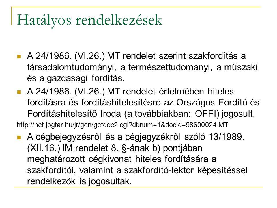 Hazai egyesületek, szervezetek OFFI MFTE MFE
