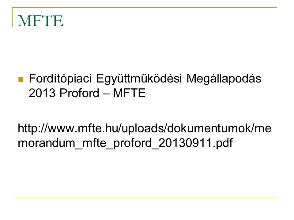 MFE Magyarországi Fordítóirodák Egyesülete Az 1994.