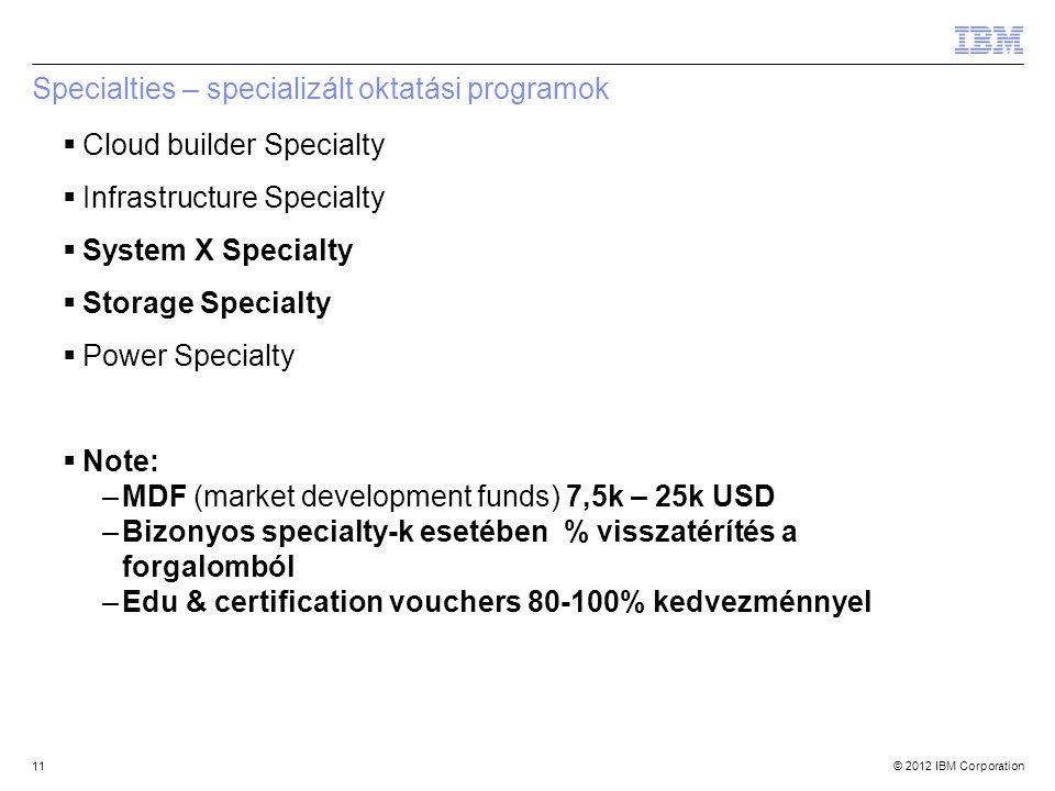 © 2012 IBM Corporation11 Specialties – specializált oktatási programok  Cloud builder Specialty  Infrastructure Specialty  System X Specialty  Sto