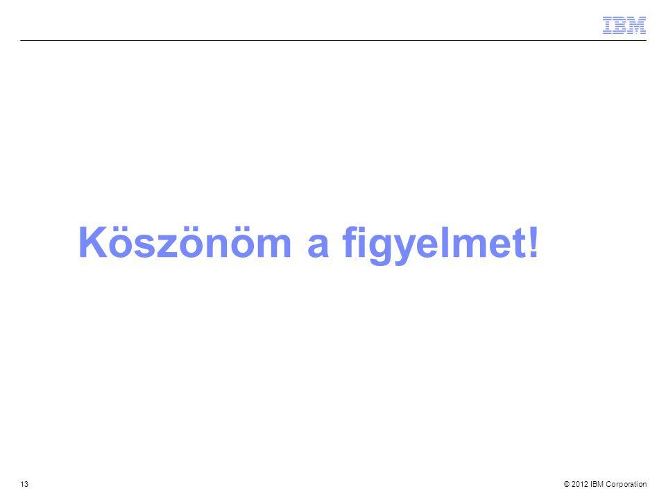 © 2012 IBM Corporation13 Köszönöm a figyelmet!