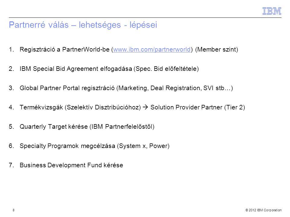 © 2012 IBM Corporation Partnerré válás – lehetséges - lépései 1.Regisztráció a PartnerWorld-be (www.ibm.com/partnerworld) (Member szint)www.ibm.com/partnerworld 2.IBM Special Bid Agreement elfogadása (Spec.