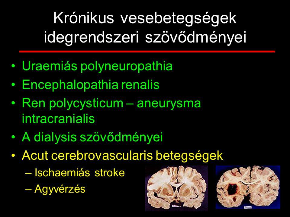 Krónikus vesebetegségek idegrendszeri szövődményei Uraemiás polyneuropathia Encephalopathia renalis Ren polycysticum – aneurysma intracranialis A dial