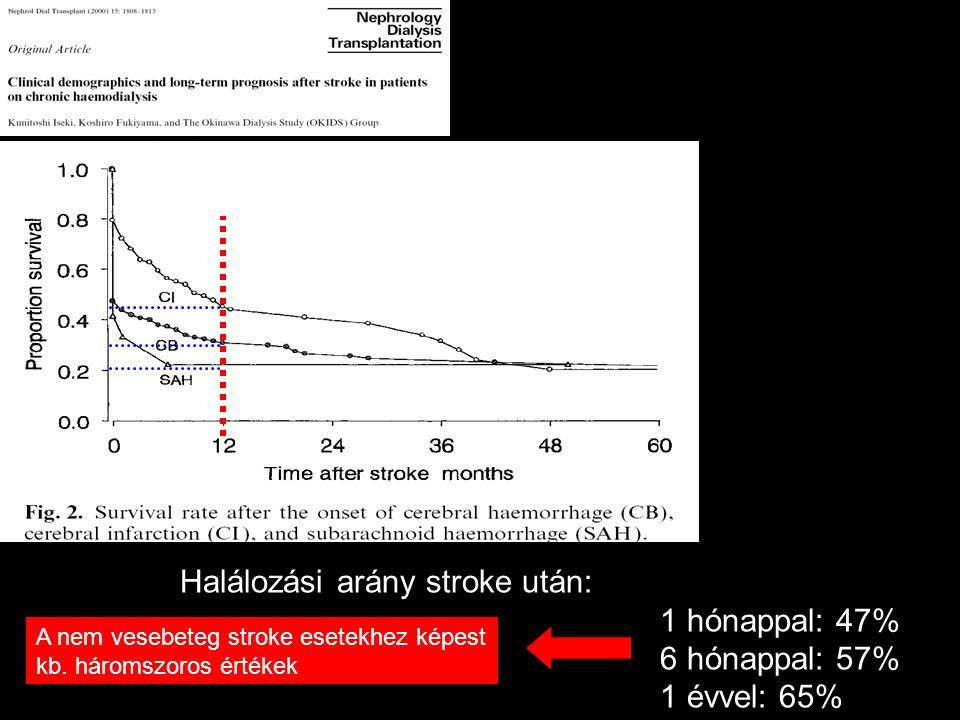 Halálozási arány stroke után: 1 hónappal: 47% 6 hónappal: 57% 1 évvel: 65% A nem vesebeteg stroke esetekhez képest kb. háromszoros értékek