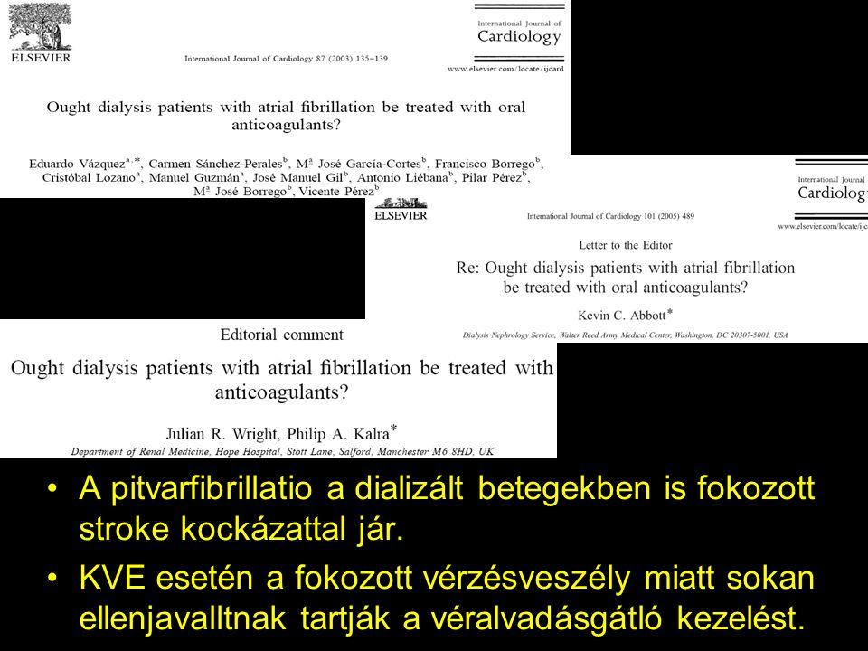 A pitvarfibrillatio a dializált betegekben is fokozott stroke kockázattal jár. KVE esetén a fokozott vérzésveszély miatt sokan ellenjavalltnak tartják